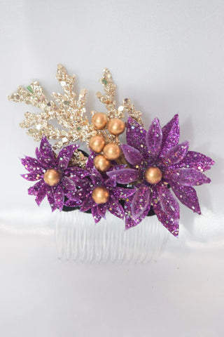 Christmas Purple Hair Comb