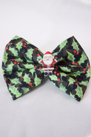 Santa Holly Christmas Hair Bow