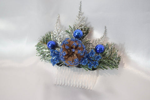 Blue Christmas Hair Comb