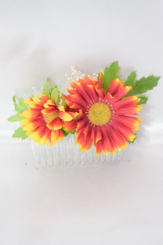 Red Daisy Hair Comb