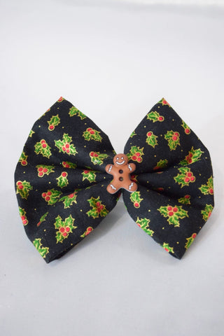 Holly Gingerbread Hair Bow
