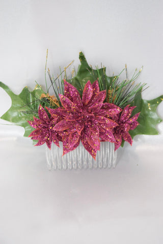 Pink Christmas Hair Comb