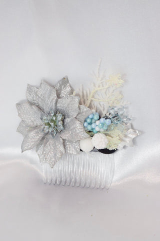 Silver Christmas Hair Comb