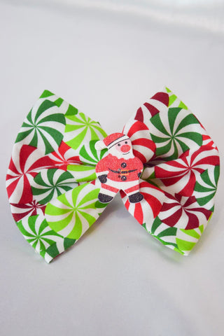 Santa Peppermint Hair Bow