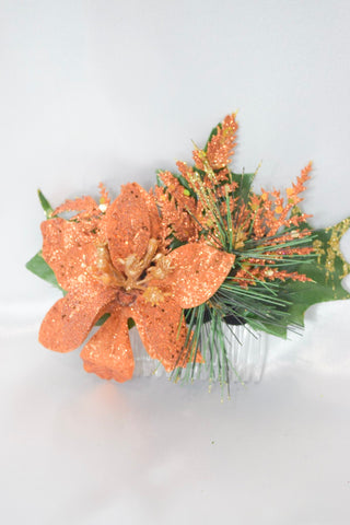 Orange Christmas Poinsettia Hair Comb
