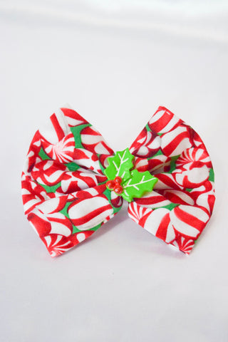 Peppermint Holly Hair Bow