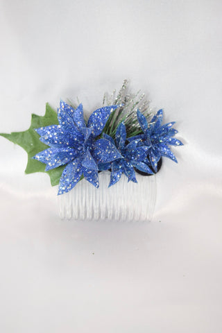 Blue Christmas Poinsettia Hair Comb