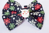 Stitched Snow Man Hair Bow
