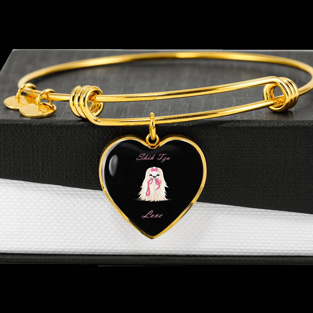 ShihMoji Shih Tzu Love Heart Gold Bangle With Free Box