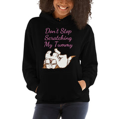 Don't Stop Scratching My Tummy Shih Tzu Black Hoodie