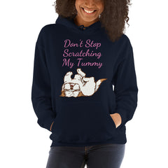Don't Stop Scratching My Tummy Shih Tzu Navy Hoodie