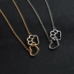 Shih Tzu Dog Paw Heart Necklace