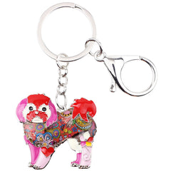 Shih Tzu Tie Dye Flower Red Dog Key Chain