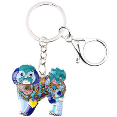 Shih Tzu Tie Dye Flower Dog Blue Key Chain