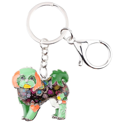 Shih Tzu Tie Dye Flower Dog Green Key Chain