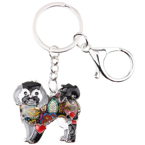 Shih Tzu Tie Dye Flower Dog Black Key Chain