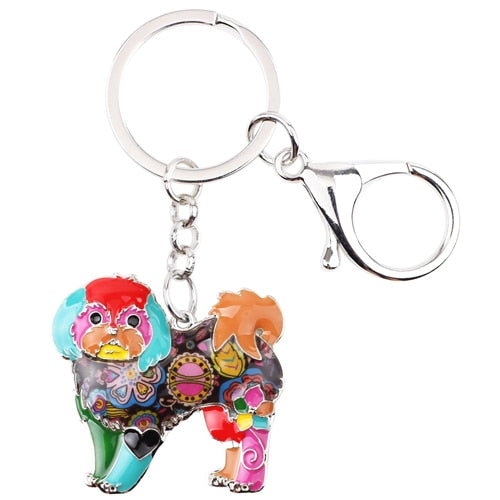 Shih Tzu Tie Dye Flower Dog Multicolor Key Chain