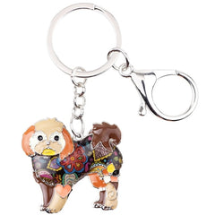 Shih Tzu Tie Dye Flower Dog Key Brown Chain