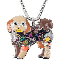 Shih Tzu Tie Dye Flower Brown Necklace