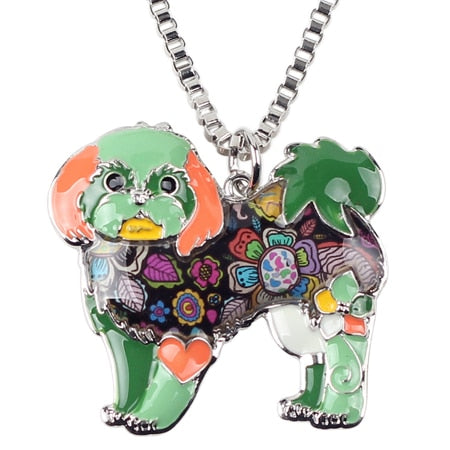 Shih Tzu Tie Dye Flower Green Necklace