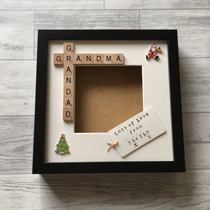 Nanny Grandad, Grandpa Grandma Scrabble Art Photo Frame with personalised tag.