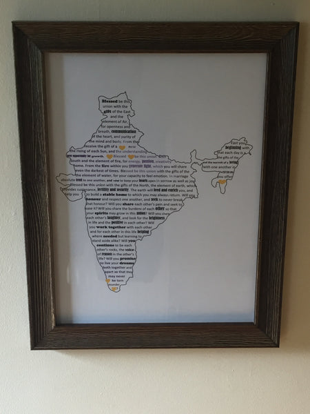 Typography Word Art A3 Framed Print, your choice or words, shape and colours.
