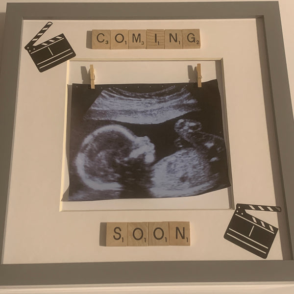 Coming Soon Baby Scan Scrabble Photo Frame.