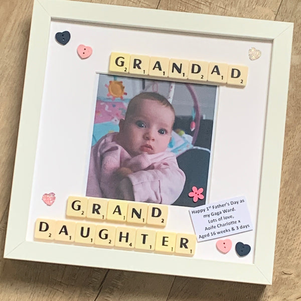 Grandad Granddaughter Personalised Scrabble Art Frame, Grandma, Nanny, Nana, Grandpa, Grandson