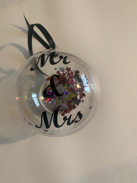 Mr & Mrs Christmas Bauble, available in 3 colours.
