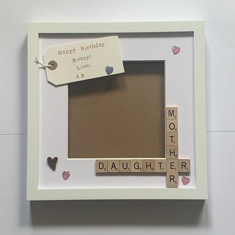 Mother Daughter Scrabble Photo Frame with Personalised Tag.