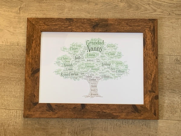 Family Tree A4 Typography Framed Word Art Print.