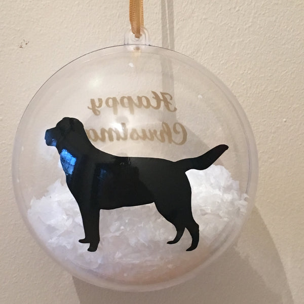 Family Personalised Bauble. Large 10cm Acrylic bauble with fake snow inside and your personal message.
