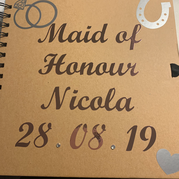 "Wedding Party Personalised Notebook, Journal, Scrapbook 8 x 8"". Perfect gift for your Bridesmaids etc"