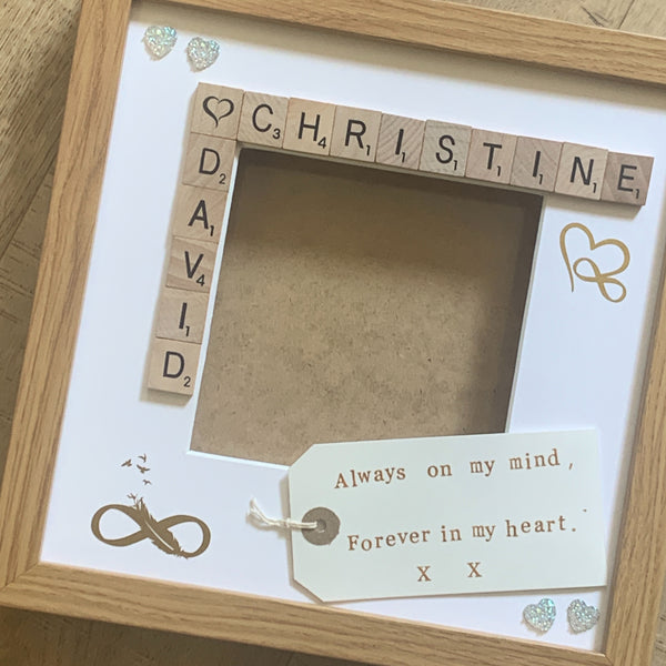 Bereavement Scrabble Art Personalised Photo Frame, Loved One Memory Frame