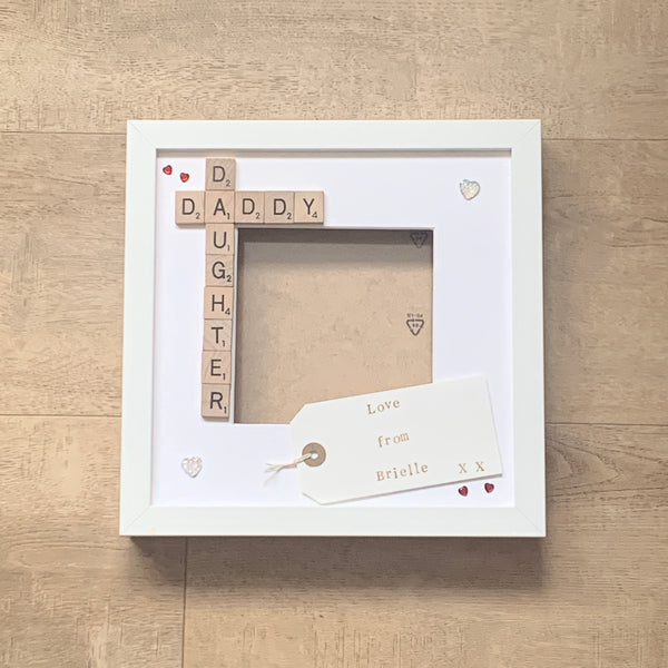 Daddy Daughter Frame, Personalised Scrabble Photo Frame.