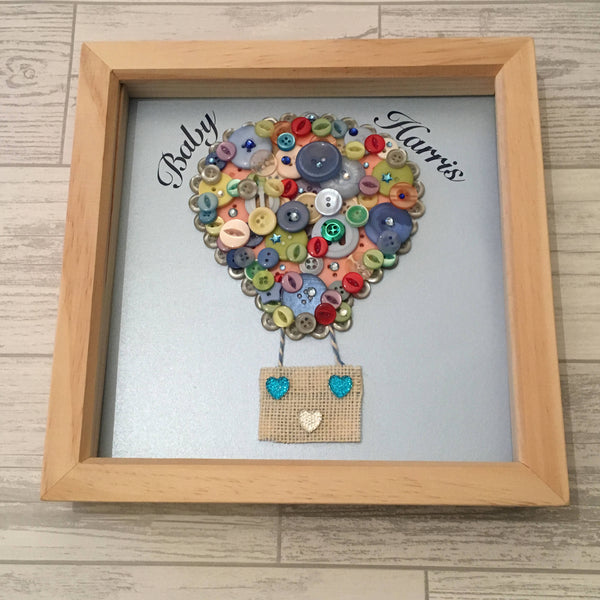 Hot Air Balloon Button Art  in Frame, Buttonart, framed art, picture, nursery, wall art, new baby, baby shower, gift