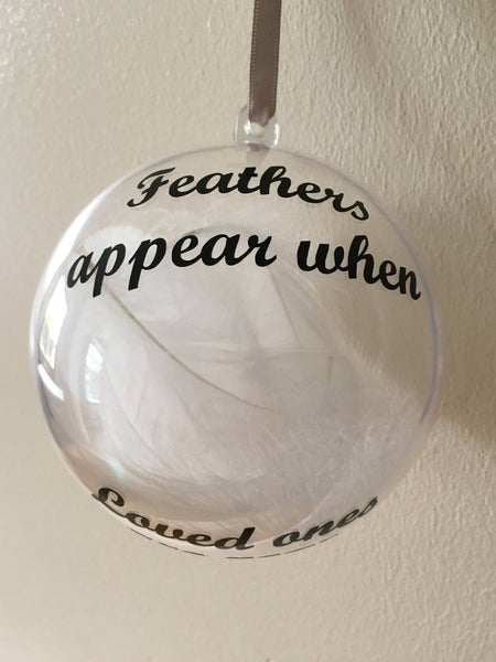 Feathers Appear Christmas Bauble, Christmas Tree Memory Decoration.