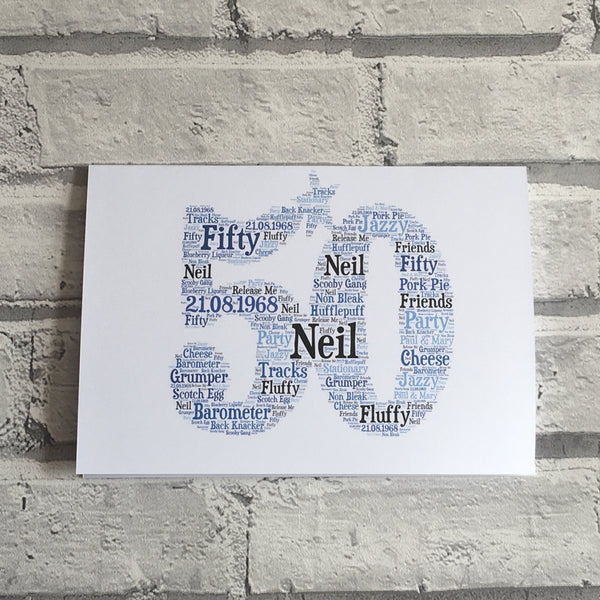 Special Age Typograpgy Word Art A5 Card, Word Art, Word Cloud, Word Shape, Birthday, Special Birthday