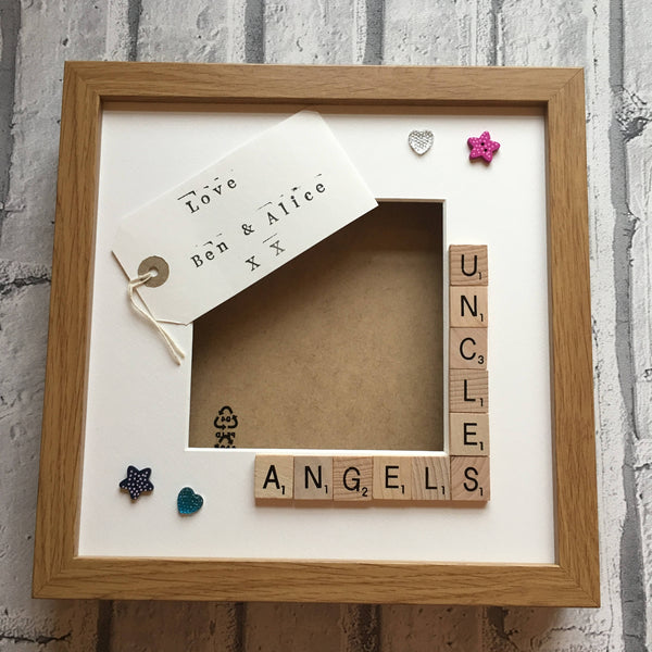 Uncle's Stars, Angels or Monsters, Personalised Scrabble Frame, Scrabble Art Frame, Scrabble Frame,