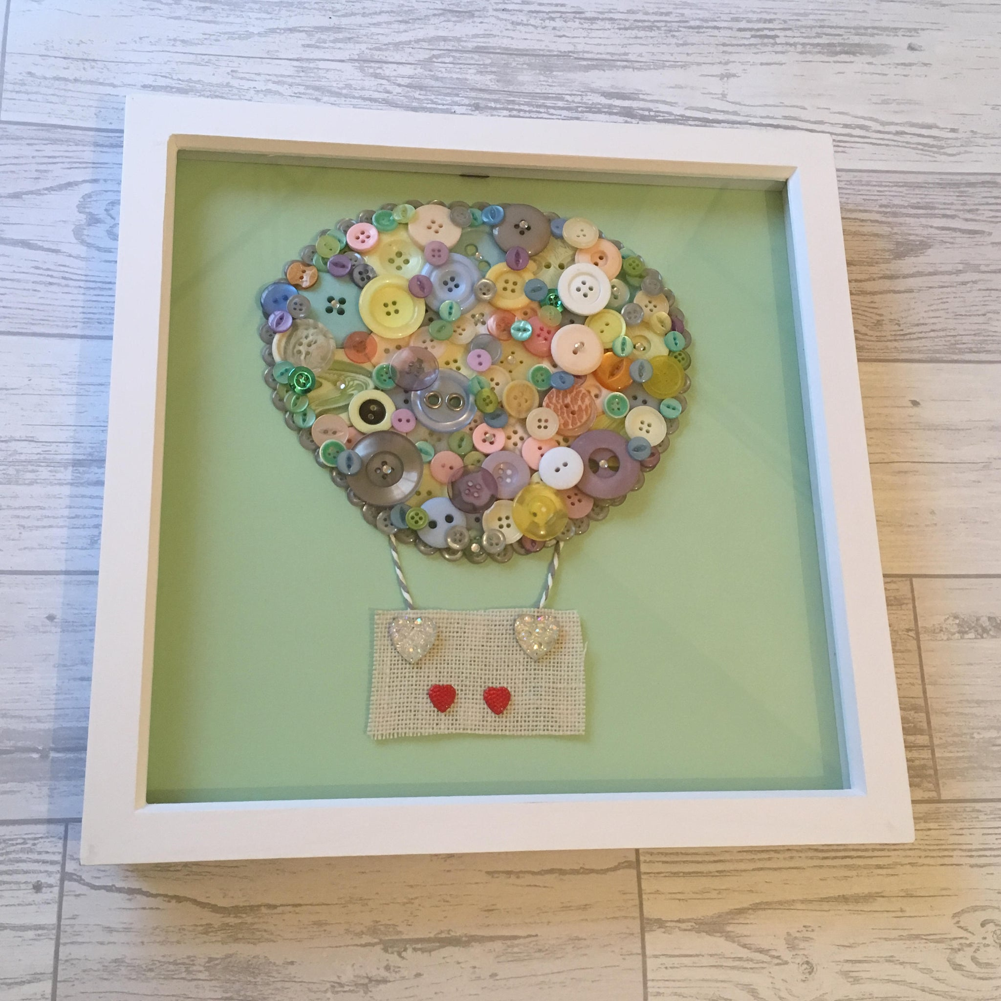 Hot Air Balloon Button Art Frame