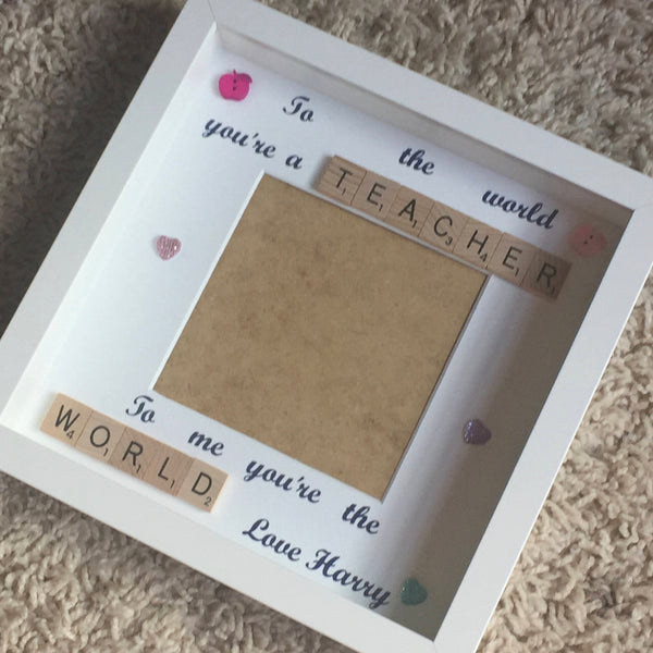 Teacher Scrabble Art Frame, Special Teacher, Teacher World, Teacher Frame, Teacher Thank You Gift, Personalised Teacher Present.