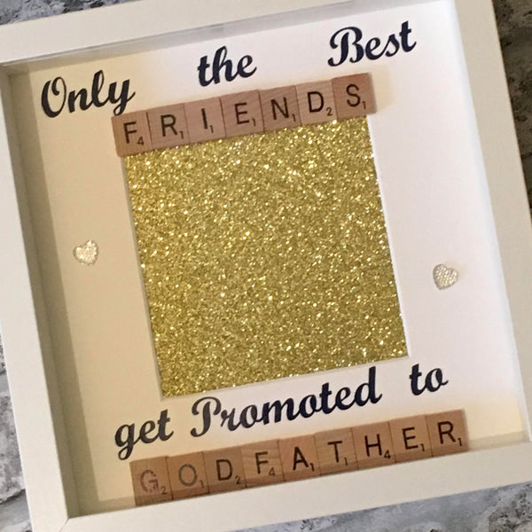 Best Friend to Godfather Scrabble Art Photo Frame