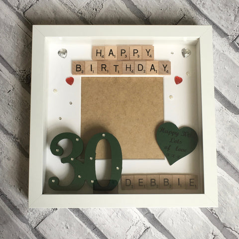 Birthday Photo Frame, Special Age Scrabble Frame, Personalised Scrabble Art Photo Frame, Special Age Photo Frame, Happy Birthday Photo Frame