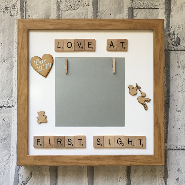Love at First Sight Baby Scan Scrabble Art Personalised Photo Frame, Baby Shower Gift, Customised Photo Frame, Baby Scan Frame,New Baby Gift