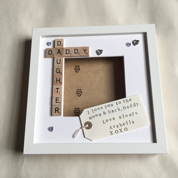 Daddy Daughter Frame, Personalised Scrabble Frame, Scrabble Art Frame, Scrabble Frame,