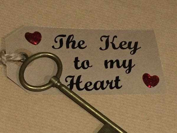 Key To My Heart, You Unlock My Soul, 21 Key to the Door Brass Key and Kraft Tag