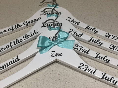 Wedding Hangers Set of 7 Bridal Hangers, Wedding Party , Personalised, Weddings, Proms, Christening, Special Occasions