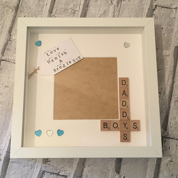 Daddy Son Frame, Daddy's Boy Personalised Scrabble Art Photo Frame.