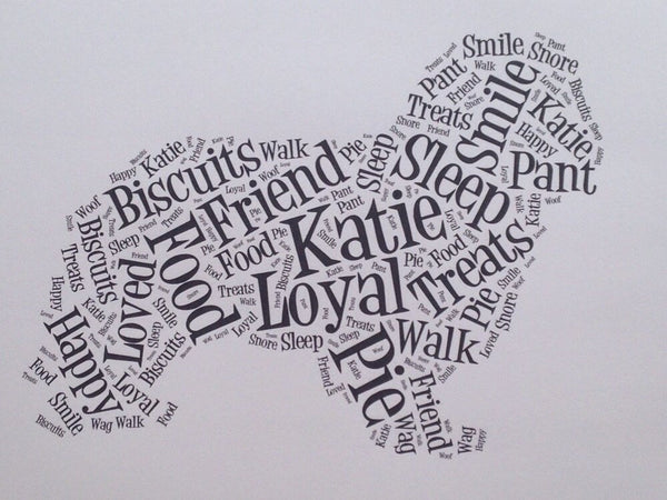 Dog Shaped Word Art Typography A4 Print (unframed)