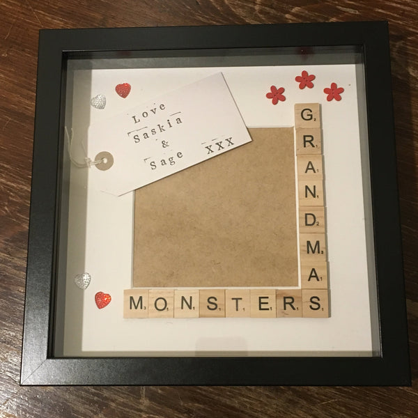 Grandma's Stars, Angels or Monsters, Personalised Scrabble Frame, Scrabble Art Frame, Scrabble Frame,